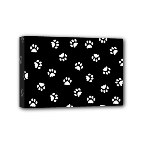 Footprints Cat White Black Mini Canvas 6  X 4  by EDDArt