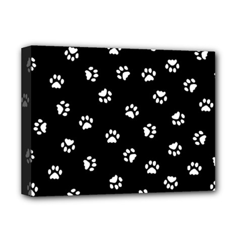 Footprints Cat White Black Deluxe Canvas 16  X 12   by EDDArt