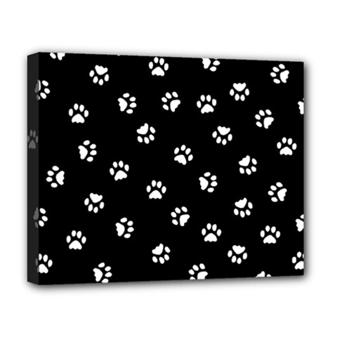 Footprints Cat White Black Deluxe Canvas 20  X 16   by EDDArt
