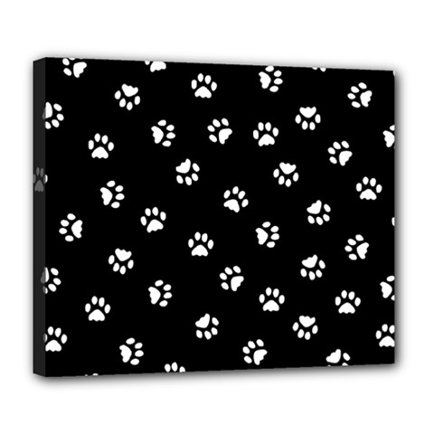 Footprints Cat White Black Deluxe Canvas 24  X 20   by EDDArt
