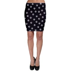 Footprints Cat White Black Bodycon Skirt by EDDArt