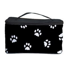 Footprints Cat White Black Cosmetic Storage Case by EDDArt