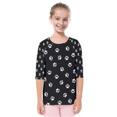 Footprints Cat White Black Kids  Quarter Sleeve Raglan Tee by EDDArt