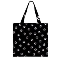 Footprints Cat White Black Zipper Grocery Tote Bag by EDDArt