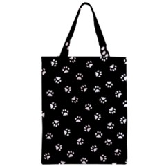 Footprints Cat White Black Zipper Classic Tote Bag by EDDArt