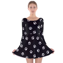 Footprints Cat White Black Long Sleeve Velvet Skater Dress by EDDArt