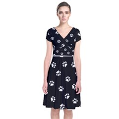 Footprints Cat White Black Short Sleeve Front Wrap Dress by EDDArt
