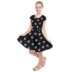 Footprints Cat White Black Kids  Short Sleeve Dress