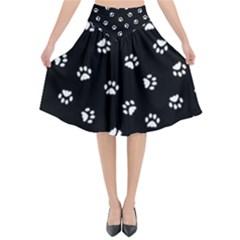 Footprints Cat White Black Flared Midi Skirt by EDDArt