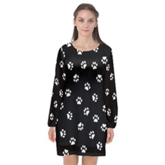 Footprints Cat White Black Long Sleeve Chiffon Shift Dress  by EDDArt