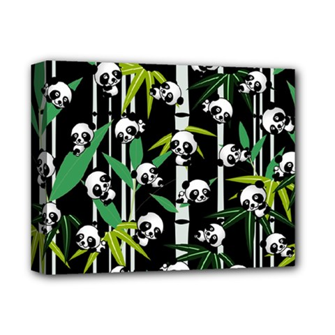 Satisfied And Happy Panda Babies On Bamboo Deluxe Canvas 14  X 11  by EDDArt