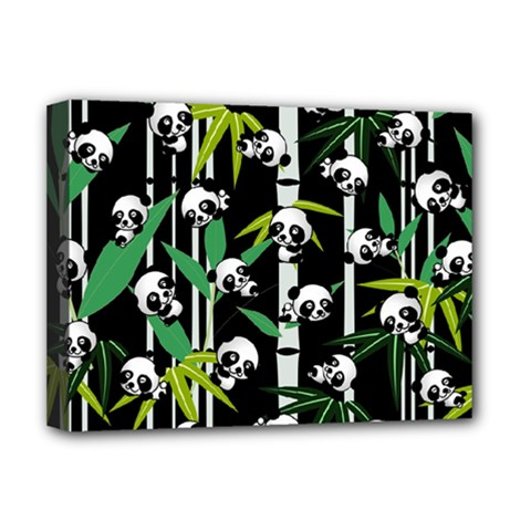 Satisfied And Happy Panda Babies On Bamboo Deluxe Canvas 16  X 12   by EDDArt