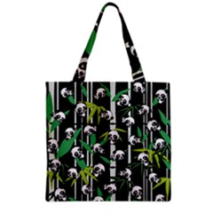 Satisfied And Happy Panda Babies On Bamboo Grocery Tote Bag by EDDArt