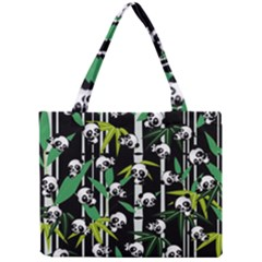 Satisfied And Happy Panda Babies On Bamboo Mini Tote Bag by EDDArt