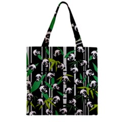 Satisfied And Happy Panda Babies On Bamboo Zipper Grocery Tote Bag by EDDArt