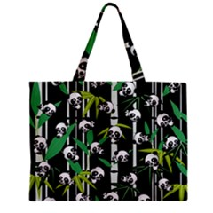 Satisfied And Happy Panda Babies On Bamboo Zipper Mini Tote Bag by EDDArt