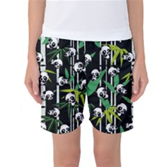 Satisfied And Happy Panda Babies On Bamboo Women s Basketball Shorts by EDDArt