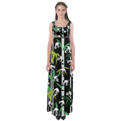 Satisfied And Happy Panda Babies On Bamboo Empire Waist Maxi Dress by EDDArt