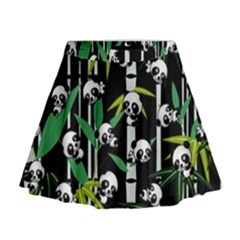 Satisfied And Happy Panda Babies On Bamboo Mini Flare Skirt by EDDArt