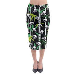 Satisfied And Happy Panda Babies On Bamboo Midi Pencil Skirt by EDDArt