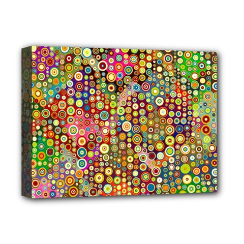 Multicolored Retro Spots Polka Dots Pattern Deluxe Canvas 16  X 12   by EDDArt