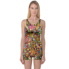 Multicolored Retro Spots Polka Dots Pattern One Piece Boyleg Swimsuit by EDDArt