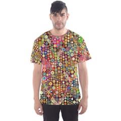 Multicolored Retro Spots Polka Dots Pattern Men s Sport Mesh Tee by EDDArt
