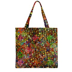 Multicolored Retro Spots Polka Dots Pattern Grocery Tote Bag by EDDArt