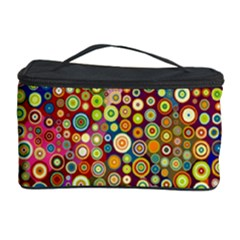 Multicolored Retro Spots Polka Dots Pattern Cosmetic Storage Case by EDDArt