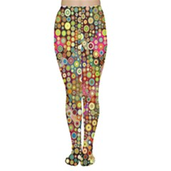 Multicolored Retro Spots Polka Dots Pattern Women s Tights by EDDArt