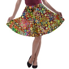 Multicolored Retro Spots Polka Dots Pattern A Line Skater Skirt by EDDArt