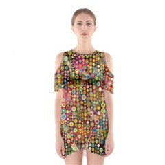 Multicolored Retro Spots Polka Dots Pattern Shoulder Cutout One Piece by EDDArt