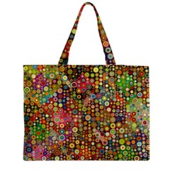 Multicolored Retro Spots Polka Dots Pattern Medium Tote Bag by EDDArt