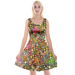 Multicolored Retro Spots Polka Dots Pattern Reversible Velvet Sleeveless Dress by EDDArt