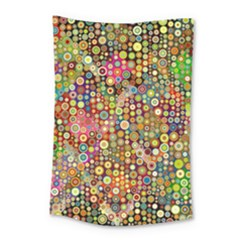 Multicolored Retro Spots Polka Dots Pattern Small Tapestry by EDDArt