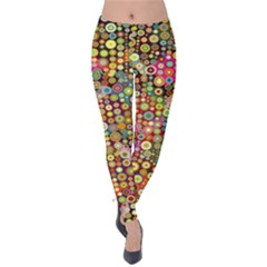 Multicolored Retro Spots Polka Dots Pattern Velvet Leggings by EDDArt