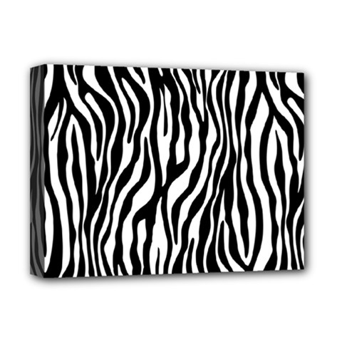 Zebra Stripes Pattern Traditional Colors Black White Deluxe Canvas 16  X 12   by EDDArt
