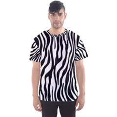 Zebra Stripes Pattern Traditional Colors Black White Men s Sport Mesh Tee by EDDArt
