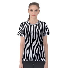 Zebra Stripes Pattern Traditional Colors Black White Women s Sport Mesh Tee by EDDArt