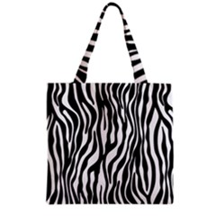 Zebra Stripes Pattern Traditional Colors Black White Grocery Tote Bag by EDDArt
