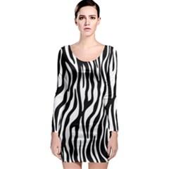 Zebra Stripes Pattern Traditional Colors Black White Long Sleeve Bodycon Dress by EDDArt