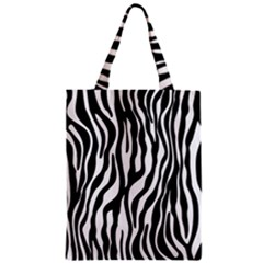 Zebra Stripes Pattern Traditional Colors Black White Classic Tote Bag by EDDArt