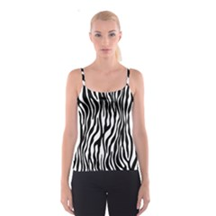 Zebra Stripes Pattern Traditional Colors Black White Spaghetti Strap Top by EDDArt