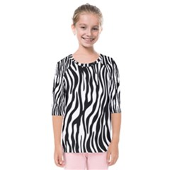 Zebra Stripes Pattern Traditional Colors Black White Kids  Quarter Sleeve Raglan Tee by EDDArt