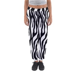 Zebra Stripes Pattern Traditional Colors Black White Women s Jogger Sweatpants by EDDArt
