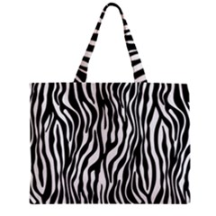 Zebra Stripes Pattern Traditional Colors Black White Zipper Mini Tote Bag by EDDArt