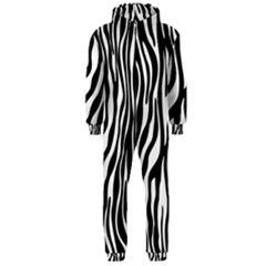 Zebra Stripes Pattern Traditional Colors Black White Hooded Jumpsuit (men)  by EDDArt