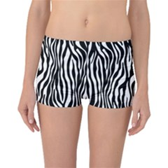 Zebra Stripes Pattern Traditional Colors Black White Boyleg Bikini Bottoms by EDDArt