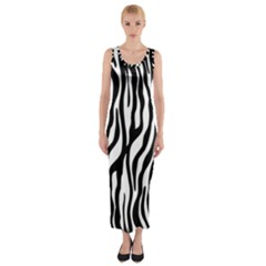 Zebra Stripes Pattern Traditional Colors Black White Fitted Maxi Dress by EDDArt
