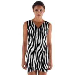 Zebra Stripes Pattern Traditional Colors Black White Wrap Front Bodycon Dress by EDDArt